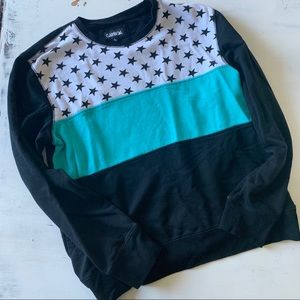 Vintage color block star crewneck